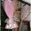 Μπομπονιέρα Βάπτισης ξύλινο μπρελόκ Sarah Kay με τούλι - Κωδ:MPO-08344