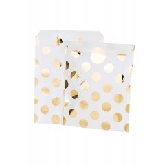 Τσάντα Δώρου Λευκή με Χρυσά Πουά - ΚΩΔ:MET-BAG-GLASSGLD-JP