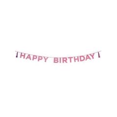 Γιρλάντα Γκλίτερ Ροζ HAPPY BIRTHDAY - ΚΩΔ:SAY-HB-PNK-JP