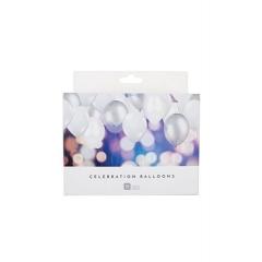 Μπαλόνια Μεταλλιζέ Ασημί-Λευκό - ΚΩΔ:WHT-BALLPK-JP