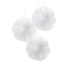 Τούλινα Pom Pom Λευκά - ΚΩΔ:WHT-TULLEPOMPOM-JP