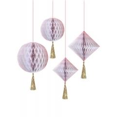 Διακοσμητικές Μπάλες Honeycomb Λευκό-Χρυσό - ΚΩΔ:45-3057-JP