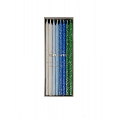 Blue Glitter Κεράκια Γενεθλίων 24τμχ - ΚΩΔ:142174-JP