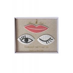 Eyes & Lips Καρφίτσες 3τμχ - ΚΩΔ:144622-JP