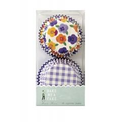 Cupcake cases λιλά καρώ με λουλούδια - ΚΩΔ:45-0230-JP