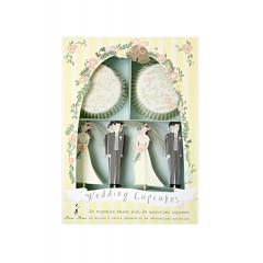 Cupcake kit  με σχέδια την νύφη και τον γαμπρό - ΚΩΔ:45-0638-JP