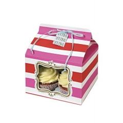 Cupcake box ροζ ριγέ - ΚΩΔ:45-0626-JP