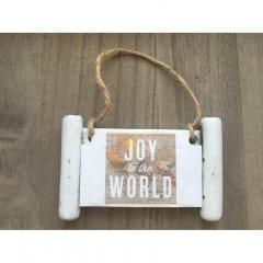 """ΠΕΤΡΙΝΗ ΜΙΚΡΗ ΠΙΝΑΚΙΔΑ ΧΑΡΤΗΣ ΚΡΕΜΑΣΤΗ """"JOY TO THE WORLD"""" - ΚΩΔ:0/117-RN"""