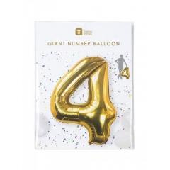 Μπαλόνι χρυσό foil αριθμός 4 - ΚΩΔ:BDAY-BALL-4-JP