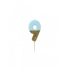 Κεράκι γενεθλίων Νο 9  We ♥ Birthdays Boy - ΚΩΔ:BDAY-CANDLE-BLUE-9-JP