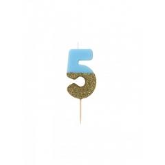 Κεράκι γενεθλίων Νο 5  We ♥ Birthdays Boy - ΚΩΔ:BDAY-CANDLE-BLUE-5-JP