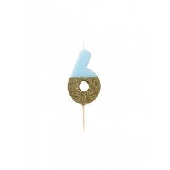 Κεράκι γενεθλίων Νο 6  We ♥ Birthdays Boy - ΚΩΔ:BDAY-CANDLE-BLUE-6-JP