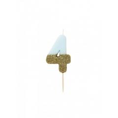 Κεράκι γενεθλίων Νο 4  We ♥ Birthdays Boy - ΚΩΔ:BDAY-CANDLE-BLUE-4-JP