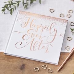 """ΒΙΒΛΙΟ ΕΥΧΩΝ ΛΕΥΚΟ ΜΕ ROSE GOLD ΕΚΤΥΠΩΣΗ """"Happily Ever After"""" - ΚΩΔ:BB-301-GY"""