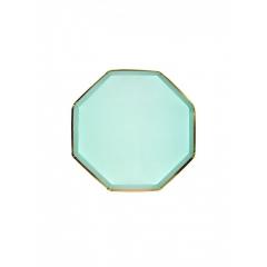 Πιάτο Γλυκού Οκτάγωνο Μέντα με Χρυσή Λεπτομέρεια - ΚΩΔ:181180-JP
