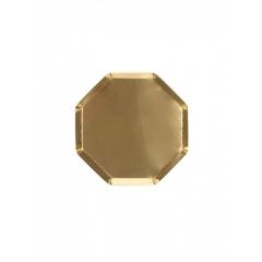 Χάρτινο Πιάτο Γλυκού Οκτάγωνο Χρυσό - ΚΩΔ:181666-JP