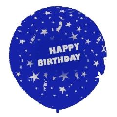 ROYAL ΜΠΛΕ ΜΠΑΛΟΝΙΑ LATEX 90cm «Happy Birthday» – ΚΩΔ.:13030100B-BB