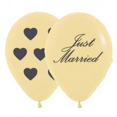 ΤΥΠΩΜΕΝΟ ΙΒΟΥΑΡ ΠΕΡΛΕ JUST MARRIED ΜΕ ΚΑΡΔΙΕΣ ΜΠΑΛΟΝΙ LATEX 12΄΄ (30cm)  – ΚΩΔ.:13512257-BB