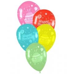 ΤΥΠΩΜΕΝΑ ΜΠΑΛΟΝΙΑ LATEX «Happy Birthday» ΜΕ ΤΟΥΡΤΑ ΣΕ 5 ΧΡΩΜΑΤΑ 12΄΄ (30cm)  – ΚΩΔ.:13512333-BB