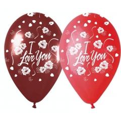 ΜΠΑΛΟΝΙΑ ΤΥΠΩΜΕΝΑ «I love you» ΜΕ ΤΡΙΑΝΤΑΦΥΛΛΑ 12'' (30cm) – ΚΩΔ.:13512350-BB