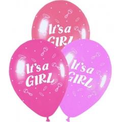 ΜΠΑΛΟΝΙΑ «It's a girl» ΜΕ ΚΟΥΔΟΥΝΙΣΤΡΑ ΣΕ 3 ΧΡΩΜΑΤΑ 12'' (30cm) – ΚΩΔ.:13512365-BB