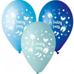 ΜΠΑΛΟΝΙΑ «A baby boy» ΜΕ ΡΟΥΧΑΛΑΚΙΑ ΣΕ 3 ΑΠΟΧΡΩΣΕΙΣ ΤΟΥ ΜΠΛΕ 12'' (30cm) – ΚΩΔ.:13512425-BB