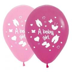 ΡΟΖ-ΦΟΥΞΙΑ ΜΠΑΛΟΝΙΑ «A baby girl» 12'' (30cm) – ΚΩΔ.:13512468b-BB