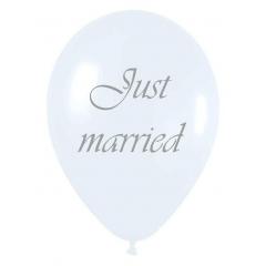 ΤΥΠΩΜΕΝΟ ΛΕΥΚΟ JUST MARRIED ΜΠΑΛΟΝΙ LATEX 12΄΄ (30cm) – ΚΩΔ.:13513205-BB