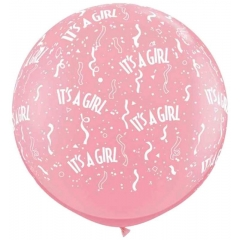 BUBBLE GUM ΡΟΖ ΜΠΑΛΟΝΙΑ LATEX 90cm «It's a girl» – ΚΩΔ.:13530102-BB