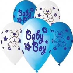 ΜΠΑΛΟΝΙΑ «Baby Boy» ΜΕ ΑΡΚΟΥΔΑΚΙΑ ΣΕ 3 ΧΡΩΜΑΤΑ 13'' (33cm) – ΚΩΔ.:13613207-BB