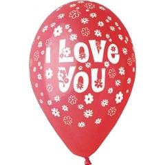 ΚΟΚΚΙΝΑ ΜΠΑΛΟΝΙΑ ΤΥΠΩΜΕΝΑ «I love you» ΜΕ ΜΑΡΓΑΡΙΤΕΣ  13'' (33cm) – ΚΩΔ.:13613211-BB