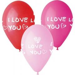 ΜΠΑΛΟΝΙΑ ΤΥΠΩΜΕΝΑ «I love you» ΣΕ 3 ΧΡΩΜΑΤΑ 12'' (30cm) – ΚΩΔ.:13613239-BB