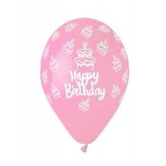 ΤΥΠΩΜΕΝΑ ΜΠΑΛΟΝΙΑ LATEX BABY PINK «Happy Birthday» CAKE 13΄΄ (33cm)  – ΚΩΔ.:13613249f-BB