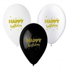 ΤΥΠΩΜΕΝΑ ΜΠΑΛΟΝΙΑ LATEX ΜΕ ΧΡΥΣΟ ΜΕΛΑΝΙ «Happy Birthday» 13΄΄ (33cm)  – ΚΩΔ.:13613258-BB