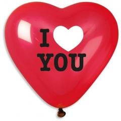 ΚΟΚΚΙΝΑ ΜΠΑΛΟΝΙΑ ΤΥΠΩΜΕΝΑ ΚΑΡΔΙΕΣ ΜΕ ΑΣΠΡΟΜΑΥΡΟ «I love you» 17'' (43cm) – ΚΩΔ.:13617451-BB