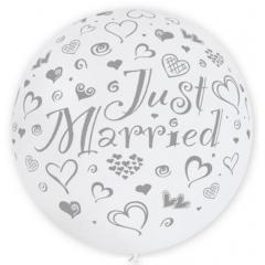 ΠΕΡΛΕ ΑΣΠΡΑ ΜΠΑΛΟΝΙΑ LATEX 90cm «Just Married» – ΚΩΔ.:13631102B-BB