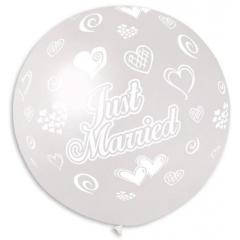 ΔΙΑΦΑΝΑ ΜΠΑΛΟΝΙΑ LATEX 90cm «Just Married» ΜΕ ΚΑΡΔΙΕΣ – ΚΩΔ.:13631104-BB