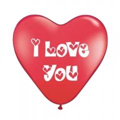 ΚΟΚΚΙΝΑ ΜΠΑΛΟΝΙΑ ΤΥΠΩΜΕΝΑ ΚΑΡΔΙΕΣ «I love you» 12'' (30cm) – ΚΩΔ.:555123905-BB