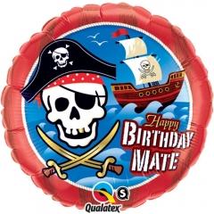 ΜΠΑΛΟΝΙ FOIL ΓΕΝΕΘΛΙΩΝ «Happy Birthday Mate» ΜΕ ΠΕΙΡΑΤΙΚΟ ΚΑΡΑΒΙ 45cm – ΚΩΔ.:11767-BB