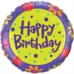 ΜΠΑΛΟΝΙ FOIL ΓΕΝΕΘΛΙΩΝ «Happy Birthday» ΜΕ ΜΩΒ ΛΟΥΛΟΥΔΙΑ 45cm – ΚΩΔ.:25172-BB