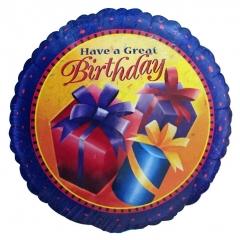 ΜΠΑΛΟΝΙ FOIL ΓΕΝΕΘΛΙΩΝ «Have a Great Birthday» ΜΕ ΔΩΡΑΚΙΑ 45cm – ΚΩΔ.:35539-BB