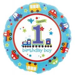 ΜΠΑΛΟΝΙ FOIL ΓΕΝΕΘΛΙΩΝ «1Sst Birthday Boy» ΜΕ ΜΗΧΑΝΗΜΑΤΑ 45cm – ΚΩΔ.:529806-BB