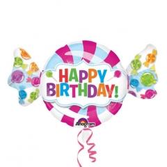 ΜΠΑΛΟΝΙ FOIL ΓΕΝΕΘΛΙΩΝ SUPERSHAPE ΚΑΡΑΜΕΛΑ «Happy Birthday» 60x101cm – ΚΩΔ.:531617-BB