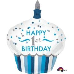 ΜΠΑΛΟΝΙ FOIL ΓΕΝΕΘΛΙΩΝ SUPERSHAPE CUPCAKE «Happy 1st Birthday» ΑΓΟΡΙ 73x91cm – ΚΩΔ.:534523-BB