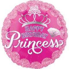 ΜΠΑΛΟΝΙ FOIL ΓΕΝΕΘΛΙΩΝ «Happy Birthday Princess» ΜΕ ΣΤΕΜΑ 45cm – ΚΩΔ.:534558-BB