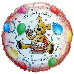 ΜΠΑΛΟΝΙ FOIL ΓΕΝΕΘΛΙΩΝ «It's party time» ΜΕ ΑΡΚΟΥΔΑΚΙ 45cm – ΚΩΔ.:60734-BB
