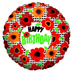 ΜΠΑΛΟΝΙ FOIL ΓΕΝΕΘΛΙΩΝ «Happy Birthday» POPPIES 45cm – ΚΩΔ.:86161-BB