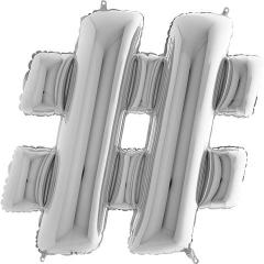 ΜΠΑΛΟΝΙ FOIL ΑΣΗΜΙ 101cm ΣΥΜΒΟΛΟ # – ΚΩΔ.:479s-BB