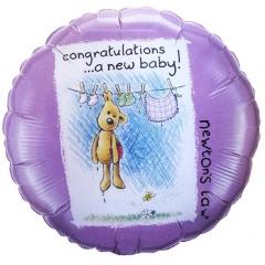 ΜΠΑΛΟΝΙ FOIL 45cm ΓΙΑ ΓΕΝΝΗΣΗ «Congratulations a New Baby» ΜΕ ΑΡΚΟΥΔΑΚΙ – ΚΩΔ.:60739-BB