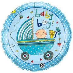 ΜΠΑΛΟΝΙ FOIL 45cm ΓΙΑ ΓΕΝΝΗΣΗ «Baby Boy» ΜΕ ΚΑΡΟΤΣΑΚΙ – ΚΩΔ.:207144-BB
